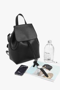 Black Leather Large Bucket Backpack