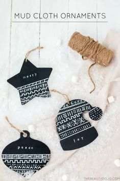 DIY Mud Cloth Ornaments for Christmas Easy To Make Christmas Ornaments, Decoration Christmas, Christmas On A Budget, Christmas Ornaments To Make, Noel Christmas, Homemade Christmas, Christmas Projects, Diy Ornaments, Christmas 2019