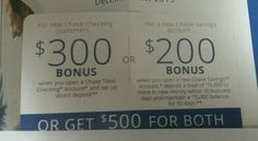 chase coupon expires 7/11/ 2016. I only mail coupon certified #direct #deposit #reqd #account #savings #bonus #offer #checking #chase