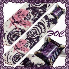 Галстук -Эффект бабочки: Ночная бабочка- Камень Чароит, Мозаика/Peyote, Ндебеле/Herringbone, Схема/Pattern tie