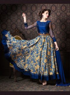 Blue Satin Ankle Length Anarkali Suit 70717