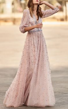 V Neck, Blouson-Sleeve Long Gown by COSTARELLOS for Preorder on Moda Operandi
