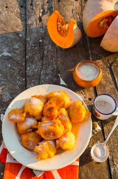 Pumpkin Fritters with Sweet Ginger Yoghurt - Sarah Graham Food Egg Recipes, Wine Recipes, Graham Recipe, Pumpkin Fritters, Sarah Graham, Winter Food, Lunches And Dinners, Cooking Time, Breakfast Recipes