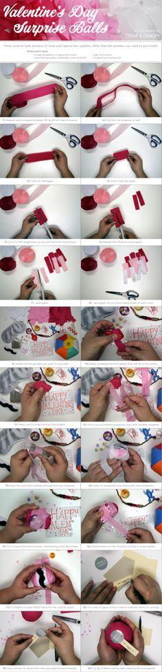 DIY Surprise Balls for Valentine's Day - #diy