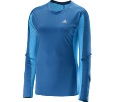 AGILE LS Salomon Men Long Sleeved Sport T-Shirt Blue Dress Blu Double Jersey