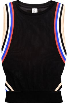 7ef5b1179211c P.E NATION Off Racing Paneled Mesh And Striped Cotton Tank.  p.enation