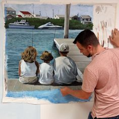 Mural painted for client of her three children in old saybrook, ct