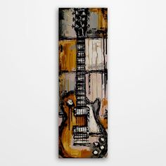 Original acrylic yellow guitar painting on canvas Les Paul, rock music wall art #Abstract #music #guitar #rockandroll #rockandrollstyle #art #electricguitar #musicalinstruments #musician #giftformusician #guitarpainting #guitarart #musicart #musicwallart