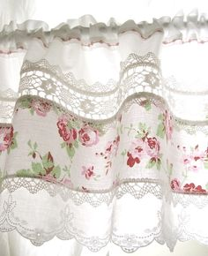 Pretty curtain idea from scrap frabric and lace - match fabric to slipcovers or pillows