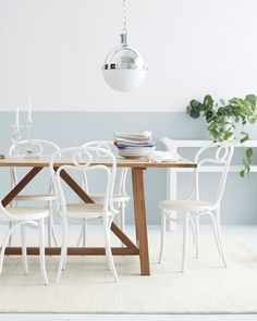Brasserie Chairs. This fresh spin on the classic Thonet Chair features our signature shades and beachy woven rattan seats, not to mention the Fameg factory stamp - a coveted mark of authenticity. #serenaandlily