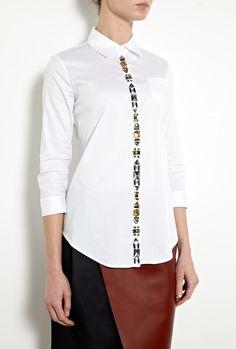 Jewelled Cohen Embellished Shirt by Elizabeth & James Ivory Silk, Peplum Blouse, Elizabeth And James, Fashion Outlet, Discount Designer, Fashion Brands, Jewels, Clothes For Women, Mens Tops