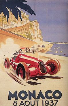 1937 MONACO GRAND PRIX SPEED CAR RACE MONTE CARLO LARGE VINTAGE POSTER REPRO in Art, Art from Dealers & Resellers, Posters | eBay