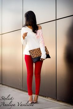 Red pants, White top, and cute handbag