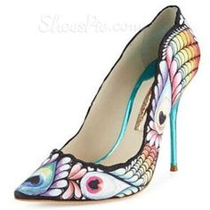 Shoespie Peacock Print Pointed Toe Stiletto Heels