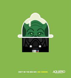 "Aquatro: Yoda - Darth Vader ""Don't be the bad guy. Use condom"" Funny Posters, Poster Ads, New Poster, Poster Prints, Creative Advertising, Print Advertising, Advertising Agency, Viral Marketing, Guerilla Marketing"