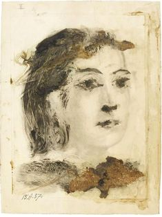 Pablo Picasso (Spain 1881-1973), Portrait de Dora Maar. II, monotype on copper, proof on Japanese paper, drawn in bold ink by the artist with application of flowers, 1937. Musée national Picasso, Paris.