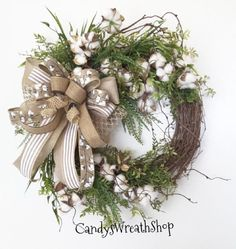 Your place to buy and sell all things handmade A BEAUTIFUL SPRING WREATH! This Spring Cotton Boll Wreath will highlight your Spring seasonal decor. The greens, cotton bolls and neutral Wreath Crafts, Diy Wreath, Grapevine Wreath, White Wreath, Tulle Wreath, Wreath Ideas, Cotton Wreath, Year Round Wreath, Holiday Wreaths