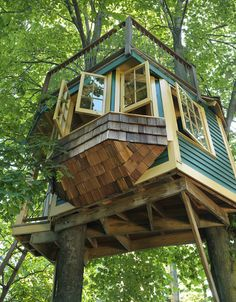 Shope Reno Wharton Treehouse. A romantic getaway in the trees with a nice top deck and a windowsill seat for relaxation.