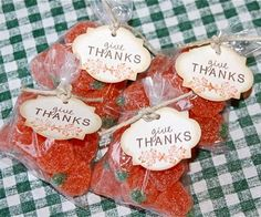 Thanksgiving treat bags filled with gummy pumpkins
