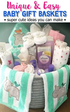 Baby gift basket ideas for her baby shower gift - these are SUPER cute DIY ideas that fit my budget! #giftideas #babyshowerideas #momhacks #basketgiftsideas