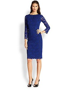 This color it's so beautiful; and with some unique earrings or wearing a statement necklace!  ABS Lace Sheath Dress