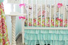 Tushies and Tantrums | Beautiful Bird Baby Bedding | Aqua, Pink Crib Bedding Set