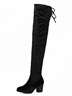 Black Lace Up Back Stretch Velvet Block Over The Knee Boots