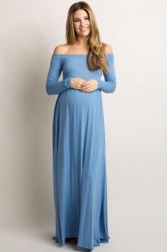 c53375808ac Blue Solid Off Shoulder Maxi Dress | Pregnancy maxi dress | Blue ...