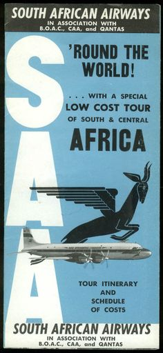 South African Airways South & Central Africa Tour airline folder 1959