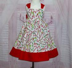 212b64a1e114 Items similar to Girl Christmas Dress, Candy Cane Dress, Red and White Dress,  White Dress, Holiday Dress, Red Bow Dress, Green and Red Dress, Toddler  Dress ...