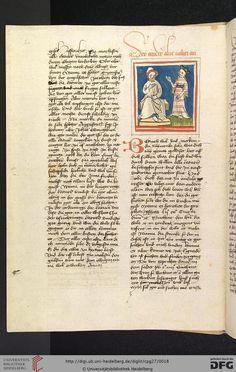 """Cod. Pal. germ. 27: Otto von Passau: Die 24 Alten (Straßburg - """"Werkstatt von 1418"""", 1418),  6v Der Zweite Alte und die minnende Seele"""