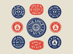 Apple Of My Eye II designed by Luke Harrison. Connect with them on Dribbble; the global community for designers and creative professionals. Badge Design, Logo Design, Graphic Design, Badge Logo, Club Design, Great Logos, Stamp, Lettering, Typography