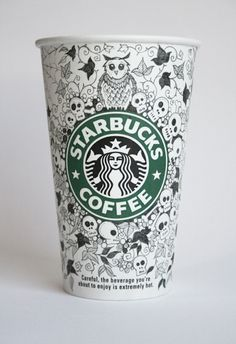 Intricately Decorated Starbucks Cups by Johanna Basford