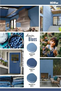 Colorfully, BEHR :: Color Explorer: The Fiercely Playful Color of St. John's, Newfoundland Behr Paint Colors, Exterior Paint Colors, Paint Colors For Home, House Colors, Diy Wand, Blue Colour Palette, Color Azul, Blue Walls, My Living Room