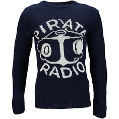 Boohoo Pirate Radio Crew Jumper ($14) ❤ liked on Polyvore featuring men's fashion, men's clothing, men's sweaters, mens short sleeve sweater, mens crew neck sweaters and mens crewneck sweaters