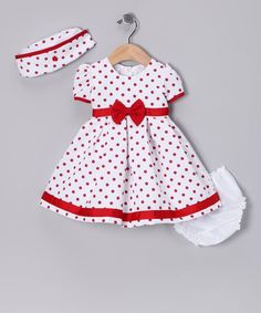 Complete with a hat, silky-soft diaper cover and fancy frock that snaps in back, this charming ensemble makes getting dressed oh-so easy. Plus the pretty flowerLoving this Shanil Red Polka Dot Collar Dress Set - Infant onAnother great find on White & Toddler Dress, Toddler Outfits, Baby Dress, Kids Outfits, Dress Set, Dot Dress, Toddler Girls, Wrap Dress, Baby Girl Dress Patterns