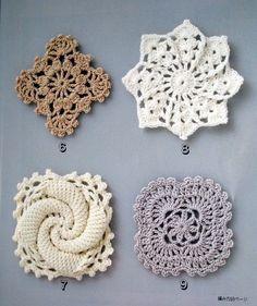granny square, star, square, diamond, swirl snowflake patterns.