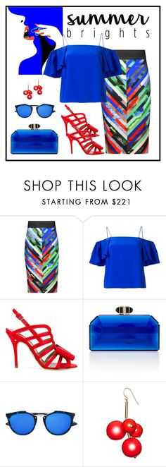 """""""Milly Mirage Printed Crepe Skirt Look"""" by romaboots-1 ❤ liked on Polyvore featuring Milly, Fendi, Laurence Dacade, Judith Leiber, McQ by Alexander McQueen and Marni"""