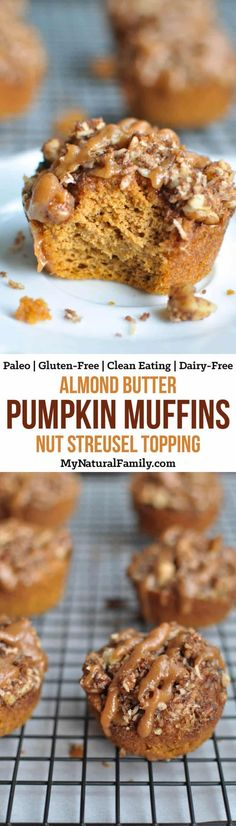 These Paleo pumpkin muffins with almond butter and nut streusel topping are big fluffy moist and bursting with pumpkin flavor. No one will believe that they are healthy gluten-free grain-free and Paleo friendly. Zucchini Muffins, Muffins Blueberry, Paleo Pumpkin Muffins, Almond Flour Muffins, Almond Flour Recipes, Healthy Muffins, Healthy Treats, Pumpkin Recipes, Fall Recipes