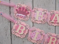 "Pink & Grey PRINCESS CROWN ""Happy 1st Birthday"" Banner, Princess Party, Pink and Grey Party, Boutique Party Decorations"