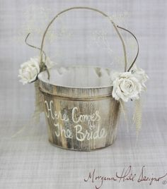 76ff706b35ca Items similar to Here Comes The Bride Flower Girl Basket Rustic Country  Wedding (Item Number MHD100020) on Etsy