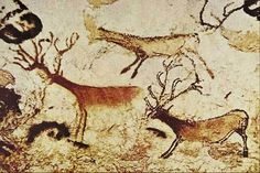 Painting of reindeer from the Cave of Lascaux, France, Magdalenian Period. Lascaux Cave Paintings, Potnia Theron, Paleolithic Art, Stone Age Art, Art Rupestre, Cave Drawings, Art Ancien, Art Antique, Dordogne