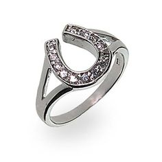 Sterling Silver Cubic Zirconia Lucky Horseshoe Ring -- Find out more about the great product at the image link. Equestrian Jewelry, Horse Jewelry, Jewelry Rings, Fine Jewelry, Jewlery, Cowgirl Jewelry, Women Jewelry, Horseshoe Ring, Lucky Horseshoe