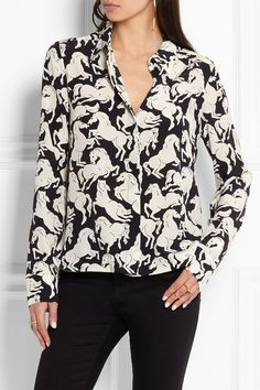 Black and ivory silk crepe de chine Partially concealed button fastenings through front 100% silk Dry clean