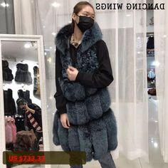 Winter Real Fox Fur Hood Vest For Women 2017 Fashion Design 75cm Long Natural Genuine Fox Fur Gilet Waistcoat