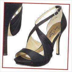 black wedding shoes for bridesmaids   Coloriffics High Heel Satin Black Bridesmaid Sandal   Bridesmaid Shoes
