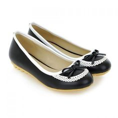 Wholesale Trendy Women's Flat Shoes With Bow and Round Toe Design (BLACK,38), Flats - Rosewholesale.com
