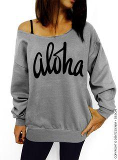 "Use coupon code ""pinterest"" Aloha - Gray louchy Oversized Sweatshirt by DentzDenim http://etsy.me/1GMu2zY #dentzdenim"