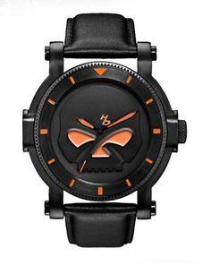 HD Men's Bulova Black Willie G Skull Wrist Watch