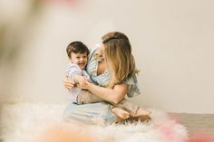 A natural light motherhood session in a light studio by Seattle Family Photographer Chelsea Macor Photography